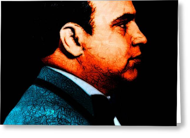 Al Capone c28169 - Black - Painterly - Text Greeting Card by Wingsdomain Art and Photography