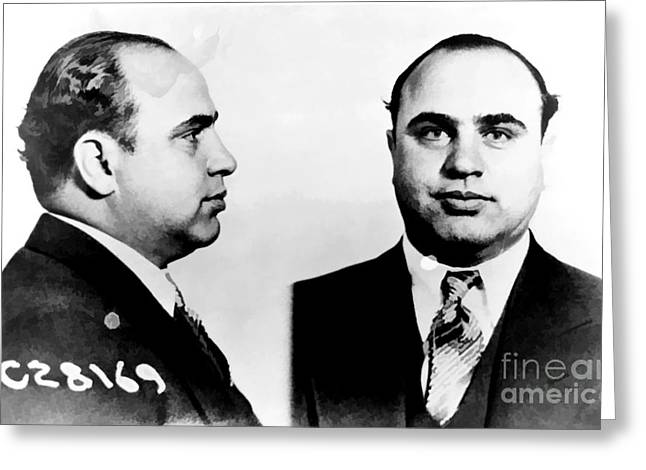Black Tie Photographs Greeting Cards - Al Capone Mug Shot Greeting Card by Unknown