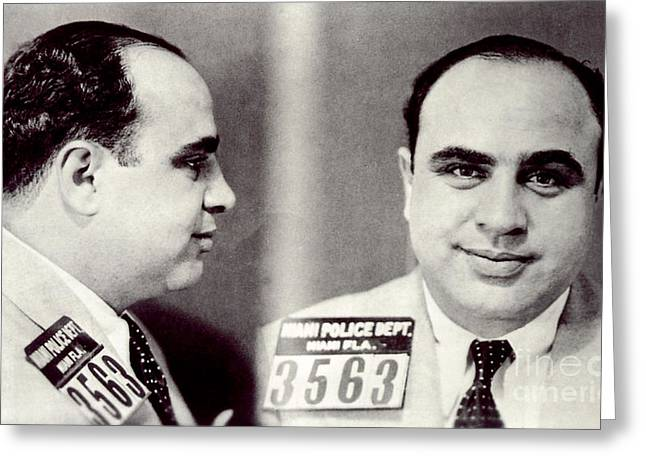 Prohibitions Greeting Cards - Al Capone Mugshot Greeting Card by Jon Neidert