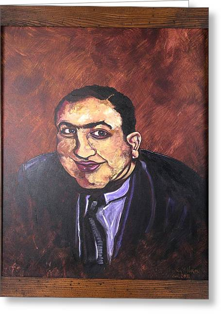 Intuited Greeting Cards - Al Capone Portrait Greeting Card by Jennifer Noren