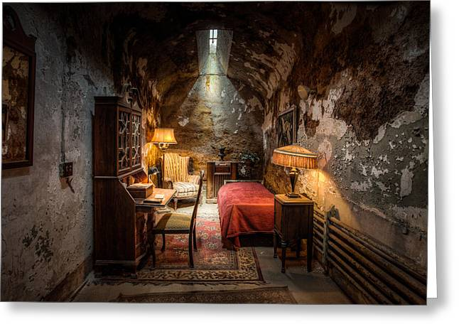 Scar Greeting Cards - Al Capones Cell - Historical Ruins at Eastern State Penitentiary - Gary Heller Greeting Card by Gary Heller