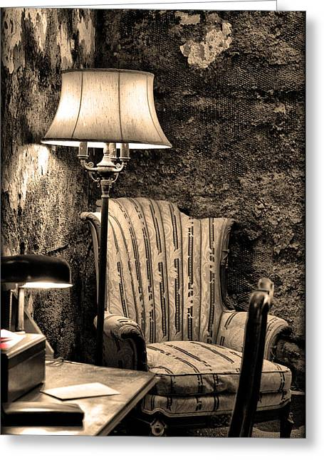 Al Capone Greeting Cards - Al Capones Easy Chair - Eastern State Penitentiary Greeting Card by Bill Cannon