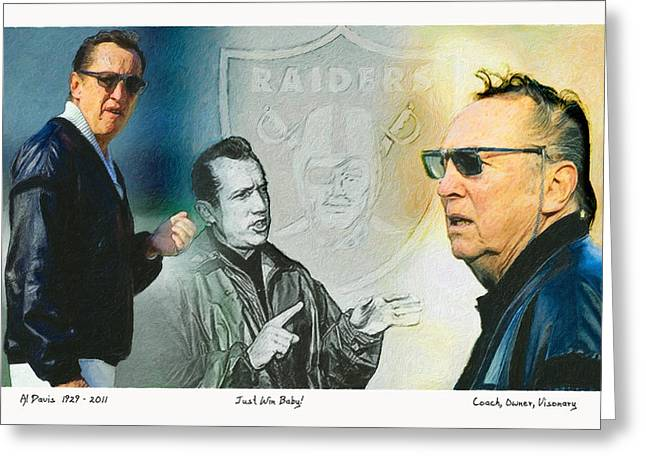 Pro Football Paintings Greeting Cards - Al Davis Mr. Oakland Raider Greeting Card by John Farr