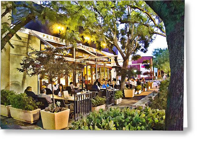 Night Cafe Greeting Cards - Al Fresco Dining  Greeting Card by Chuck Staley