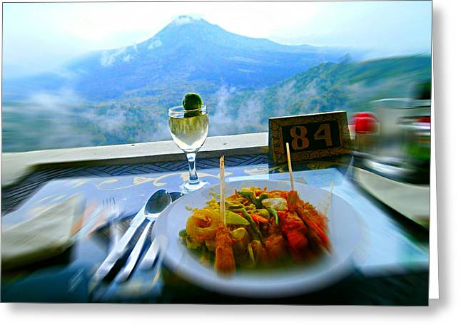 Al Fresco Greeting Cards - Al-fresco Volcanic Mountain Veiw Greeting Card by Ruth Clotworthy
