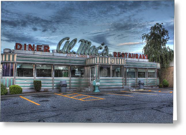 Andrew Pacheco Greeting Cards - Al Macs Diner Greeting Card by Andrew Pacheco