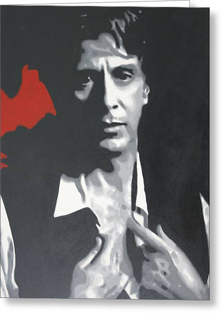 Cuban Refugee Greeting Cards - Al Pacino 2013 Greeting Card by Luis Ludzska