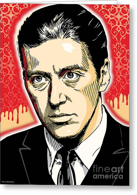 Al Pacino As Michael Corleone Pop Art Greeting Card by Jim Zahniser