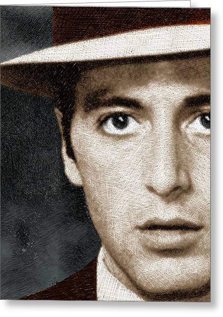 I Know Greeting Cards - Al Pacino as Michael Corleone Greeting Card by Tony Rubino
