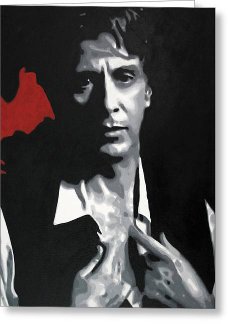 Mob-drama Film Greeting Cards - Al Pacino  Greeting Card by Luis Ludzska