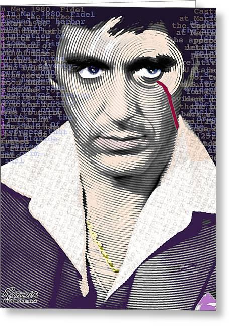 Al Pacino Scarface Greeting Card by Tony Rubino