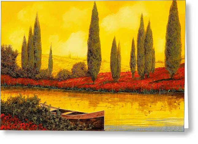 River Boat Greeting Cards - Al Tramonto Greeting Card by Guido Borelli