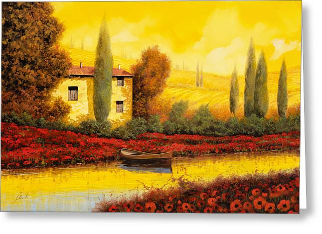 Cypress Greeting Cards - Al Tramonto Sul Fiume Greeting Card by Guido Borelli
