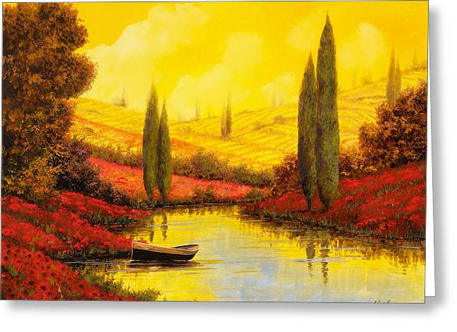 Yellow Reflections Greeting Cards - Al Tramonto Sul Torrente Greeting Card by Guido Borelli
