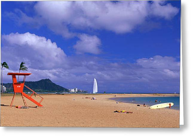 Ala Moana Greeting Cards - Ala Moana Beach Honolulu Hi Greeting Card by Panoramic Images