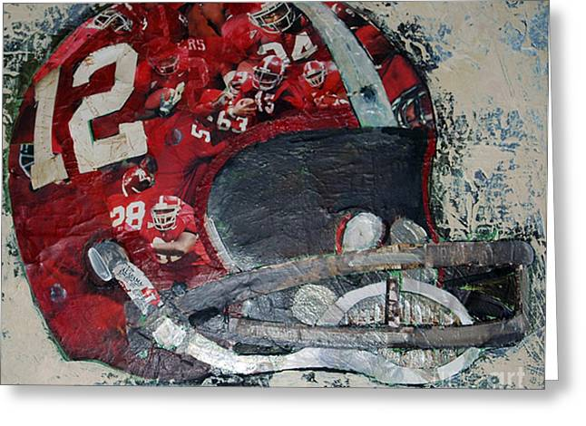 Crimson Tide Mixed Media Greeting Cards - Alabama #12 Greeting Card by Alaina Enslen