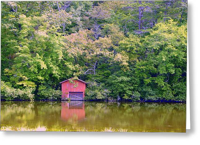 Wooden Building Greeting Cards - Alabama Boat House Greeting Card by Laurie Perry