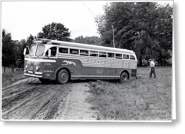 Rural School Bus Greeting Cards - Alabama bus in trouble 1953 Greeting Card by Matjaz Preseren