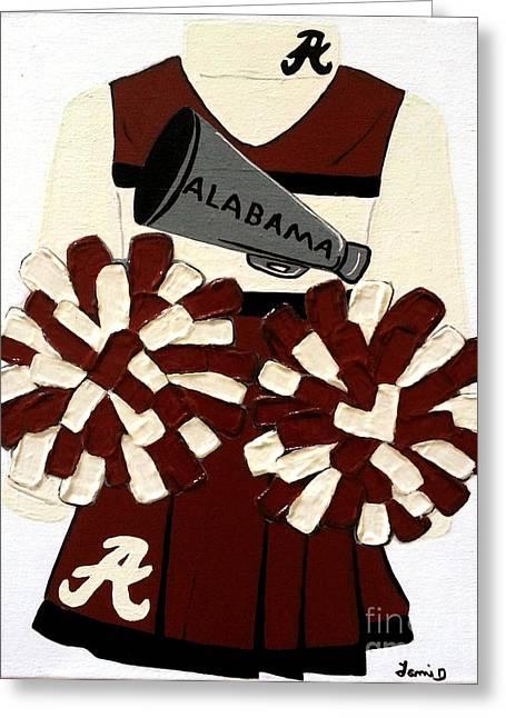 Roll Tide Paintings Greeting Cards - Alabama Cheerleader Greeting Card by Tami Dalton