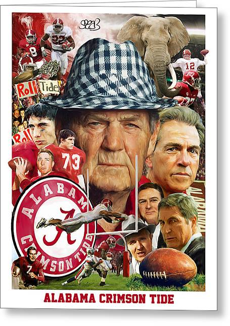 Bryant Paintings Greeting Cards - Alabama Crimson Tide Greeting Card by Mark Spears
