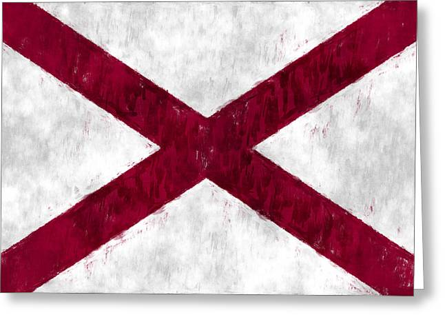 Alabama Digital Art Greeting Cards - Alabama Flag Greeting Card by World Art Prints And Designs