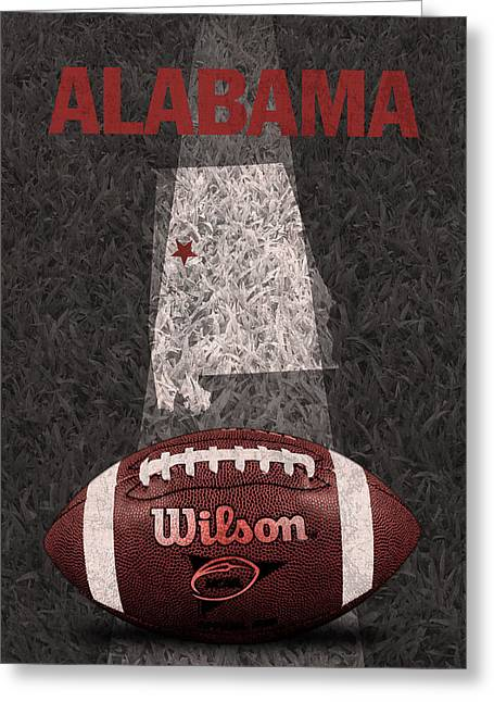 Alabama Greeting Cards - Alabama Football Map Poster Greeting Card by Design Turnpike