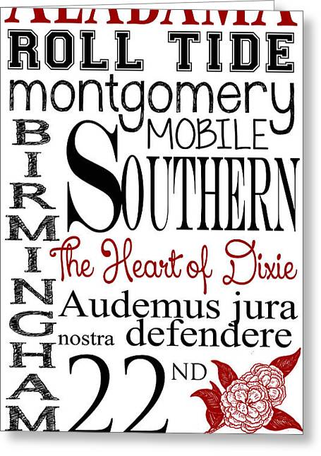 Various Digital Greeting Cards - Alabama Greeting Card by Heather Applegate
