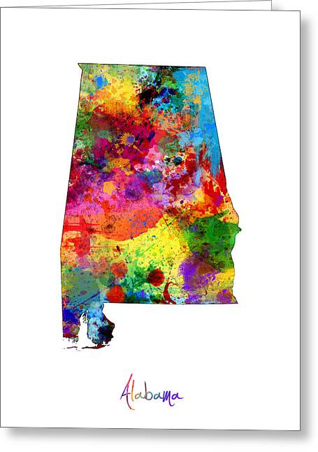 Alabama Greeting Cards - Alabama Map Greeting Card by Michael Tompsett