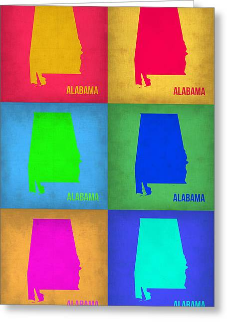 Alabama Greeting Cards - Alabama Pop Art Map 1 Greeting Card by Naxart Studio