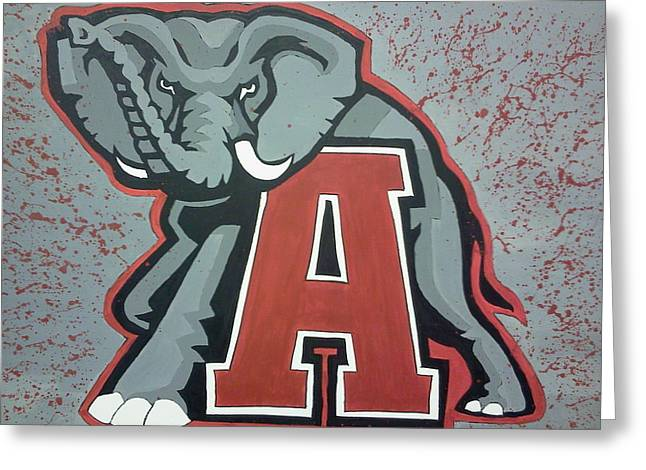Roll Tide Paintings Greeting Cards - Alabama Roll Tide Greeting Card by Lisa Collinsworth