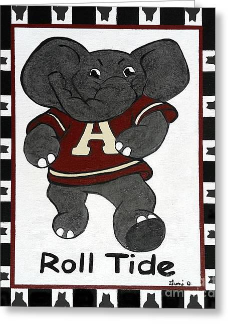 Hounds Tooth Greeting Cards - Alabama Roll Tide Greeting Card by Tami Dalton