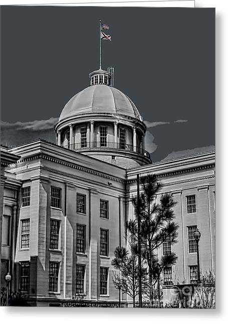 Montgomery Greeting Cards - Alabama State Capital Building HDR Art BW Greeting Card by Lesa Fine