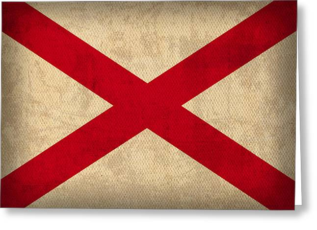 Alabama Greeting Cards - Alabama State Flag Art on Worn Canvas Greeting Card by Design Turnpike