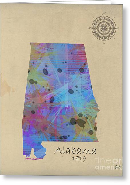 Alabama Mixed Media Greeting Cards - Alabama state map Greeting Card by Bri Buckley