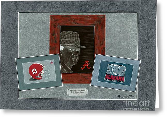 Bear Bryant Paintings Greeting Cards - Alabama Trio Greeting Card by Herb Strobino