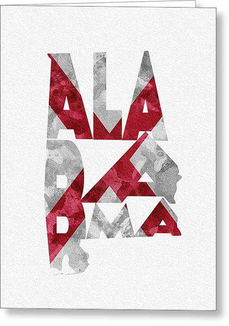 Alabama Greeting Cards - Alabama Typographic Map Flag Greeting Card by Ayse Deniz
