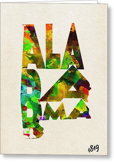 Alabama Greeting Cards - Alabama Typographic Watercolor Map Greeting Card by Ayse Deniz