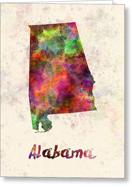 Alabama Paintings Greeting Cards - Alabama US state in watercolor Greeting Card by Pablo Romero