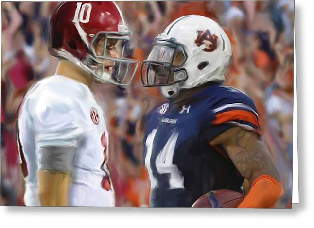University Of Alabama Greeting Cards - Alabama vs Auburn Greeting Card by Mark Spears