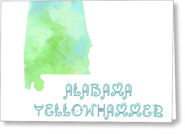 Alabama - Yellowhammer State - Map - State Phrase - Geology Greeting Card by Andee Design