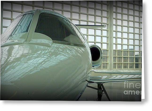 Gift Ideas For Him Greeting Cards - Alabaster Lear Jet Greeting Card by Susan Garren
