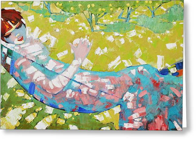 Girl In The Hammock Greeting Cards - Alabaster noon  Greeting Card by Anastasija Kraineva