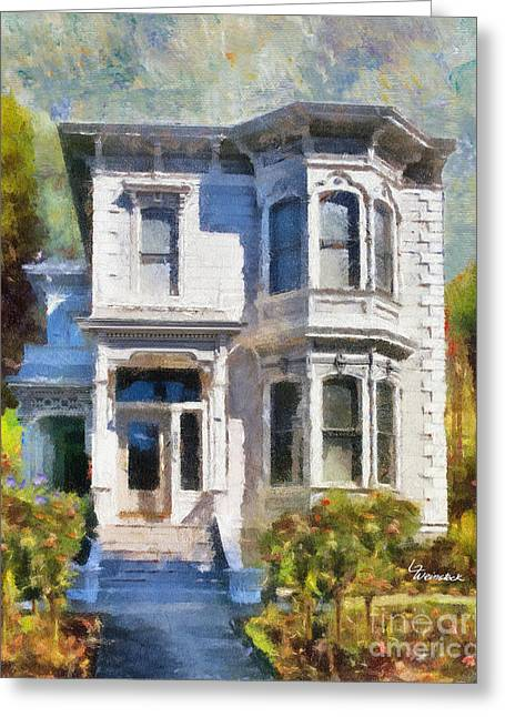 Dappled Light Greeting Cards - Alameda 1880 - Queen Anne  Greeting Card by Linda Weinstock
