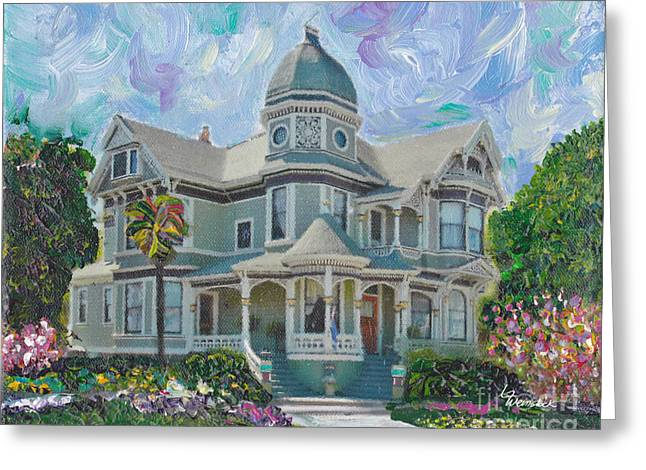 Dappled Light Greeting Cards - Alameda 1893  Queen Anne  Greeting Card by Linda Weinstock