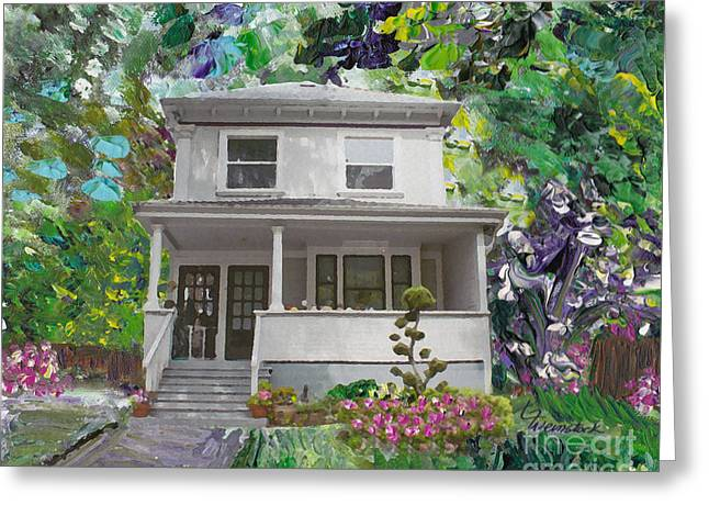 Clapboard House Mixed Media Greeting Cards - Alameda 1933 Duplex - American Foursquare  Greeting Card by Linda Weinstock
