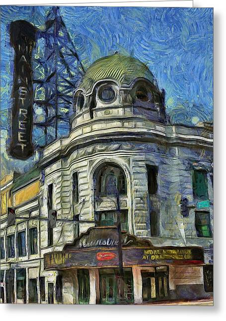 Van Gogh Style Greeting Cards - Alamo Drafthouse Mainstreet Cinema  Greeting Card by L Wright
