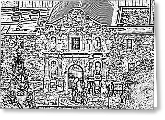National Parks Greeting Cards - Alamo Mission Entrance High Angle View at Christmas in San Antonio Texas Black and White Digital Art Greeting Card by Shawn O