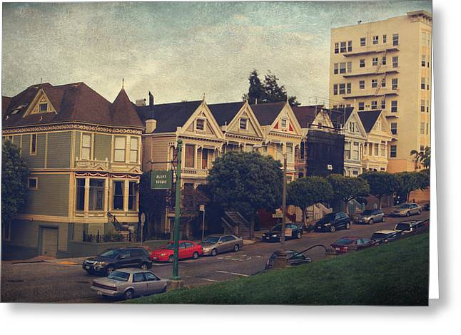 Building. Home Greeting Cards - Alamo Square Greeting Card by Laurie Search
