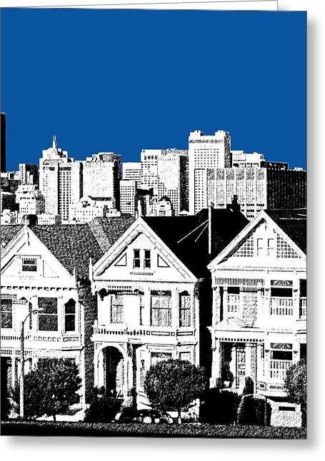 Alamo Square -  Royal Blue Greeting Card by DB Artist