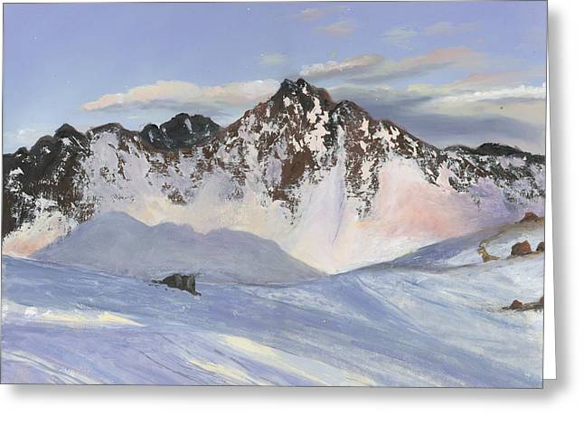 Alamoots Winter Mountains Greeting Card by Cecilia Brendel